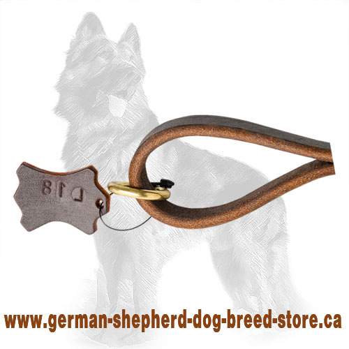 Short Leather German Shepherd Leash/Handle with Floating Ring