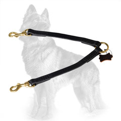 German-Shepherd Leather Dog Coupler Comfortable for  Walking Two Dogs Together