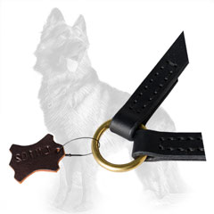 German-Shepherd Leather Dog Coupler with O-Ring for  Reliable Attachment of Leash