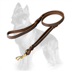 German Shepherd Leather Dog Leash Decorated with Braids near Handles