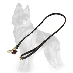 German-Shepherd Leather Dog Leash with Brass Snap Hook