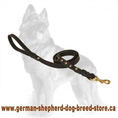 Trandy Leather German-Shepherd Dog Leash Decorated With  Studs And Braids