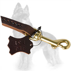 German-Shepherd Leather Dog Leash Equipped with Brass  Snap Hook