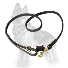 German-Shepherd Leather Dog Leash with Floating Ring on  Handle