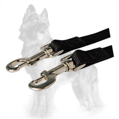 German Shepherd Nylon Dog Coupler Equipped with Two  Nickel Covered Snap Hooks
