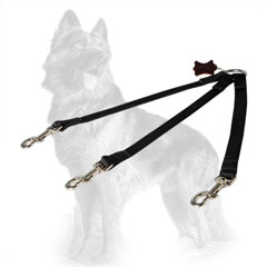 German-Shepherd Nylon Triple Coupler Comfortable for  Walking Three Dogs Together