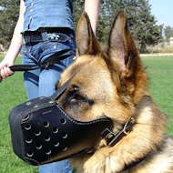 "German Shepherd Dog Leather dog muzzle ""Dondi"" style For GSD"