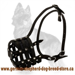 Leather Dog Muzzle for German Shepherd With Great Ventilation