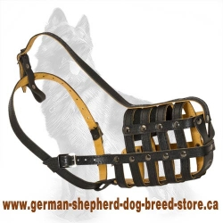Padded Leather Super Ventilation Dog Muzzle For Shepherd