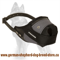 German Shepherd Training Dog Muzzle Made of Leather and Nylon