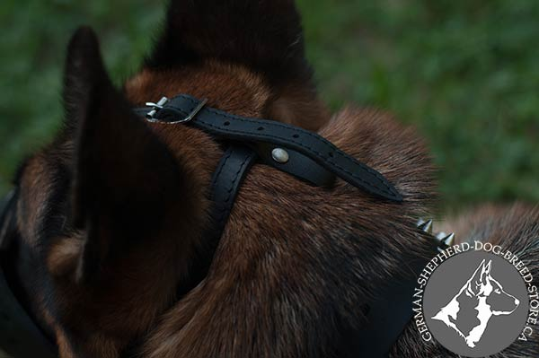 Ergonomic Leather Dog Muzzle with  Adjustable Strap on Head