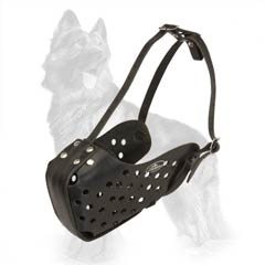 Leather Dog Muzzle For Safe Walking And Transporting A  Dog