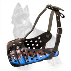 Reliable Leather German-Shepherd Dog Muzzle Paainted  With Blue Flames