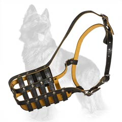 Leather German Shepherd Breed Muzzle With Good Air  Circulation