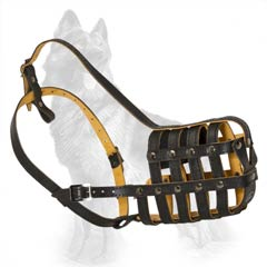 Leather German Shepherd Dog Muzzle With Good  Ventilation System