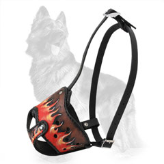 Leather German-Shepherd Muzzle with Fire Flames Painting
