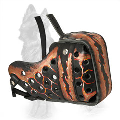 Magma Painted Leather German Shepherd Muzzle Ventilated