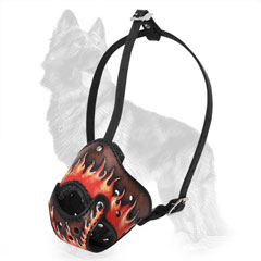 Hand Painted Fire Flames Leather German-Shepherd Muzzle