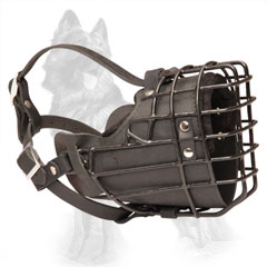 German Shepherd Metal Cage Dog Muzzle Covered with