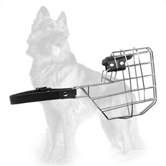 German Shepherd Dog Muzzle Wire Basket with Felt Padded Upper Snout Area