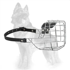 Modern Wire Dog Muzzle for German Shepherd with Adjustable Strap