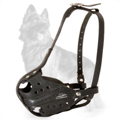German-Shepherd Working Leather Dog Muzzle Hand Stitched and Riveted