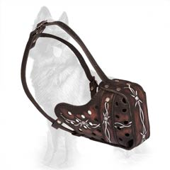 Artistic Leather Dog Muzzle Barbed Wire for German Shepherd