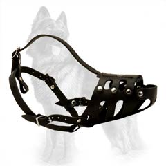 Quality Leather Dog Muzzle for German Shepherd