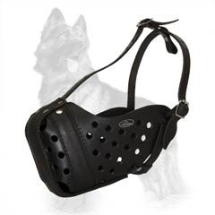 Durable Leather Dog Muzzle for German Shepherd