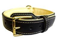 GSD-Royal Nappa Padded Hand Made Leather Dog Collar - code: C443