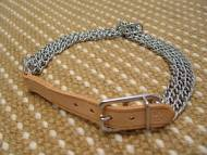 Herm. Sprenger Triple Row Collar With 6 Inch Long Leather Strap In Natural Color
